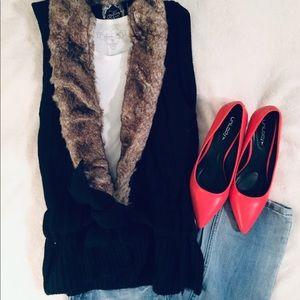 Yoki Black Cable Knit Faux Fur Vest - Medium